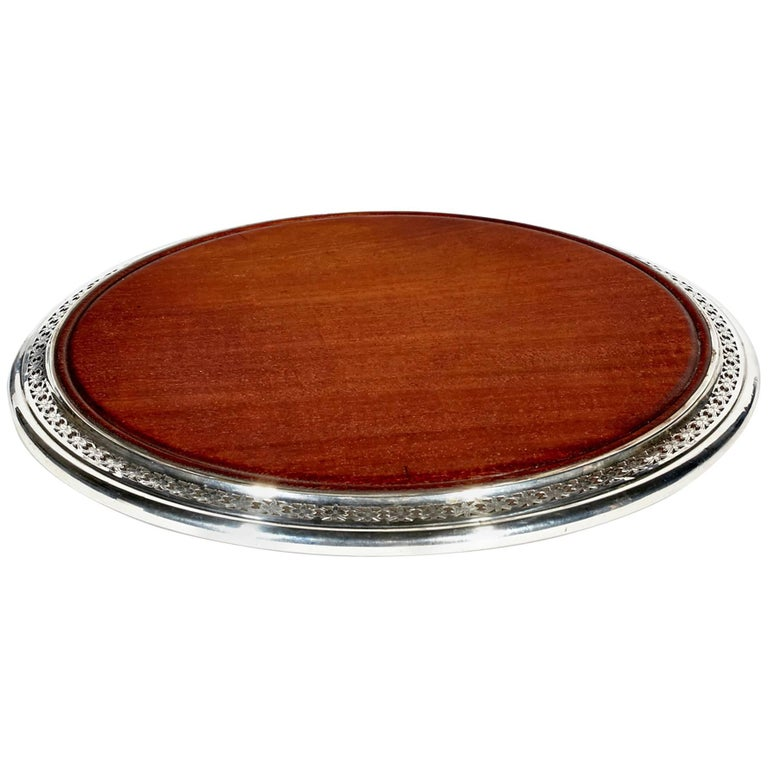 1950s Sterling Silver and Mahogany Wood Serving Trivet