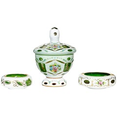 Bohemian Green and White Overlay Smoking Set with Floral Enamel Decoration