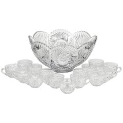 Heisey Glass Co. Glass Punch Bowl Set, 16 Pieces