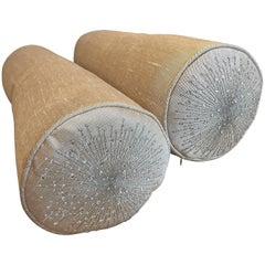 Pair of Silk Bolster Cushions, Star Burst Design and Swarovski Crystals