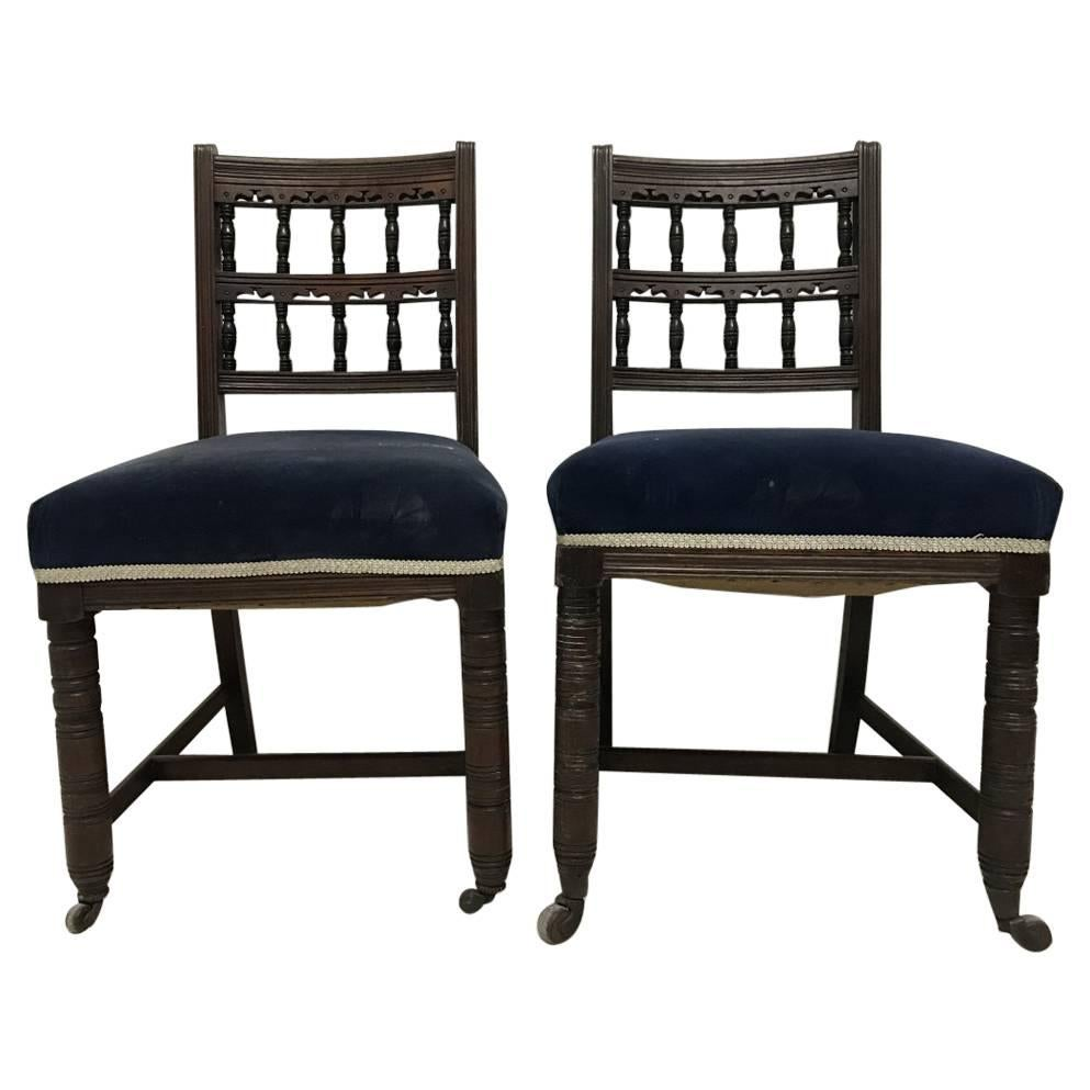 Bruce Talbert for Gillows A Pair of Aesthetic Movement Walnut Dining Chairs