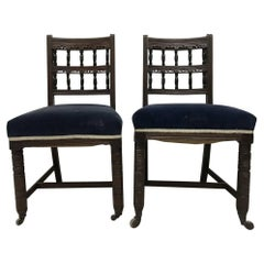 Good Pair of Aesthetic Movement Walnut Dining Chairs Designed by Bruce Talbert