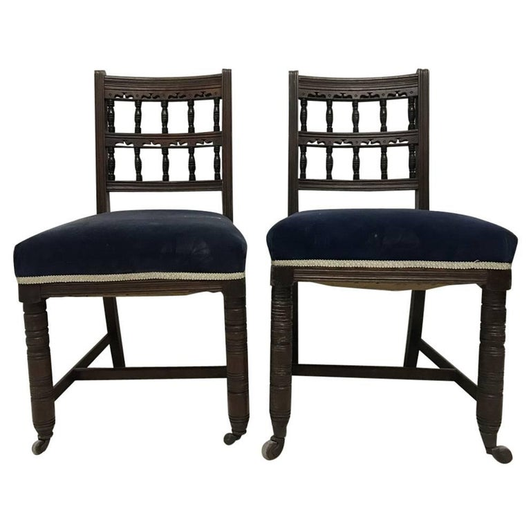 Bruce Talbert for Gillows A Pair of Aesthetic Movement Walnut Dining Chairs For Sale