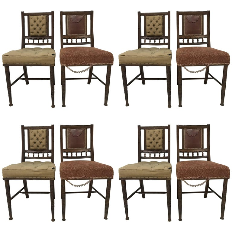Bruce Talbert Gillows, Harlequin Set of Eight Aesthetic Movement Dining Chairs