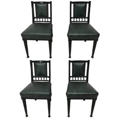Set of Four Aesthetic Movement Ebonized Dining Chairs Designed by Bruce Talbert