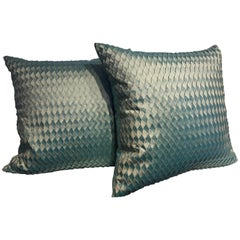 Pair of Silk Cushions Pleated Chevron Pattern Embossed Sea Foam Color