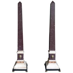 Pair of Grand Tour Egyptian Porphyry Obelisks, 19th Century