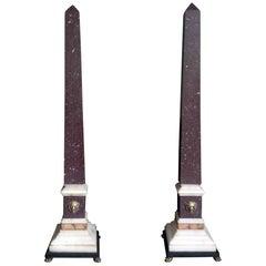 Pair of Grand Tour Egyptian Porphyry Obelisks, 19th Century