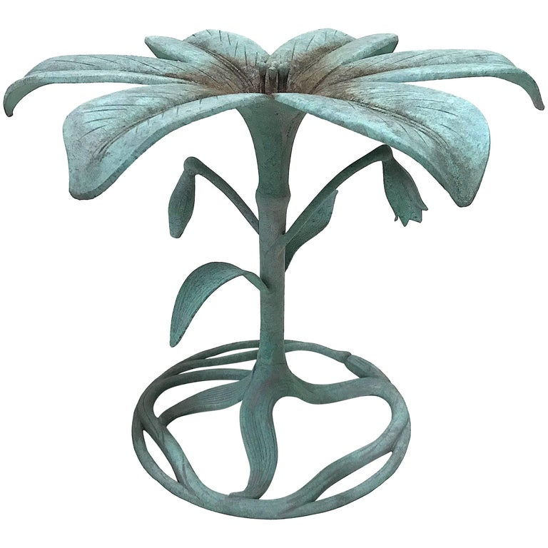 Verdigris Arthur Court 'Lily' Dining Table for Garden or Interiors