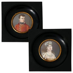 Antique French Miniature Paintings Signed, Portraits Napoleon and Josephine