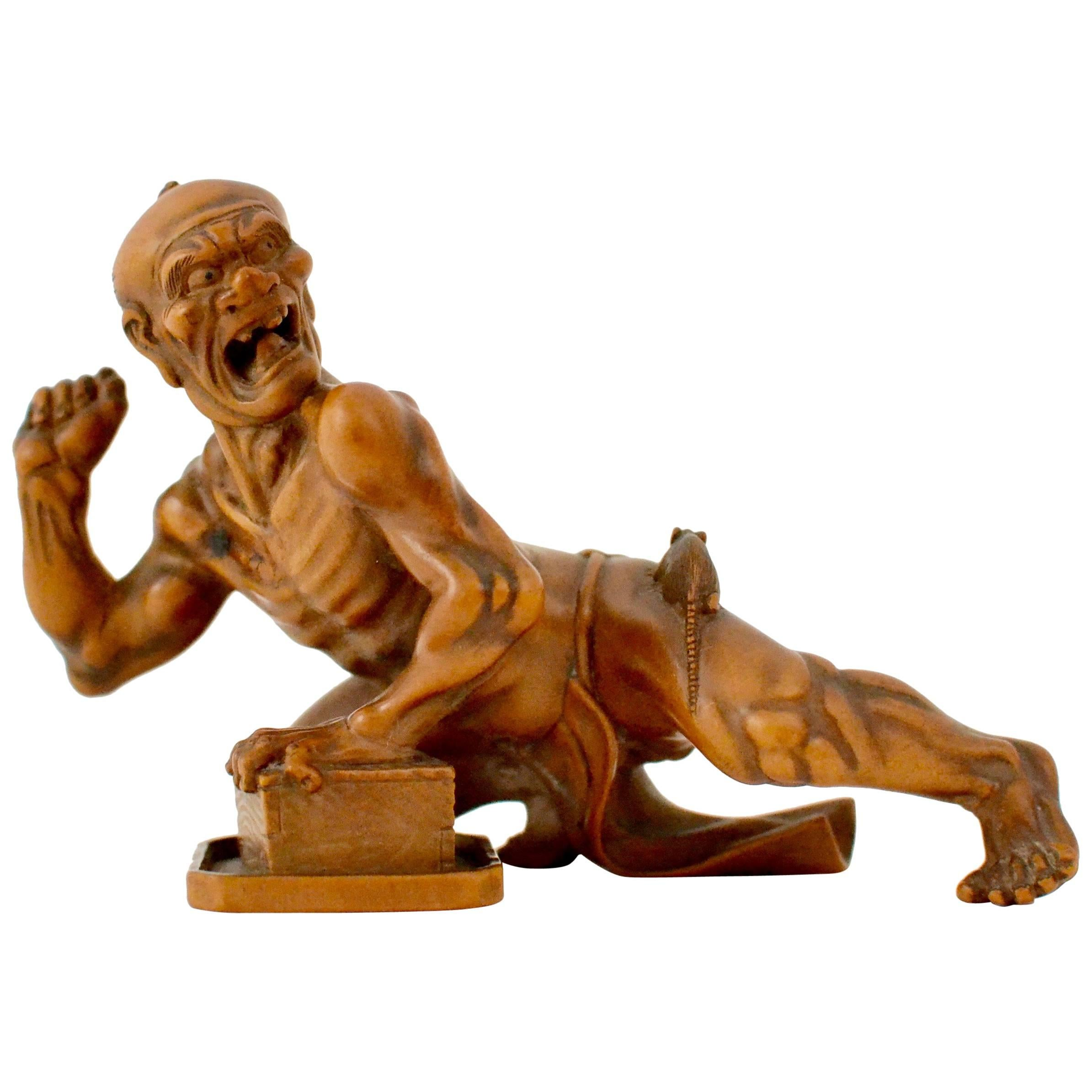 Japanese boxwood carved figure signed for sale at stdibs