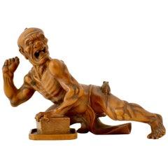 Japanese Boxwood Carved Figure, Signed