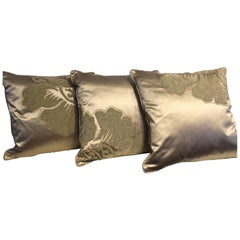 Set of Cushions Silk Satin Champagne Modern Damask Design Hand Embroidery
