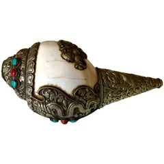 Tibetan Ritual Conch Shell with Silver and Stones
