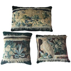 Set of Three Aubusson Tapestry Fragment Pillows or Cushions, French, circa 1780