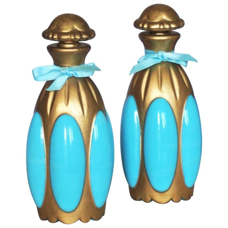 French Art Nouveau Pair of Turquoise Opaline Glass Perfume Bottles, circa 1900