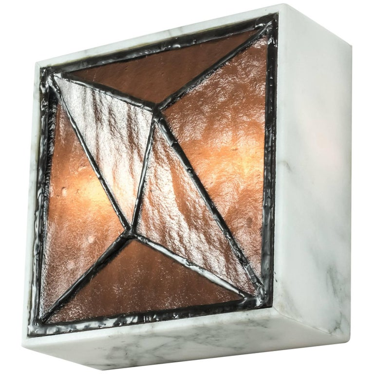Gem_Stone V.3, Contemporary Wall Sconce in Glass and Marble by Kalin Asenov For Sale