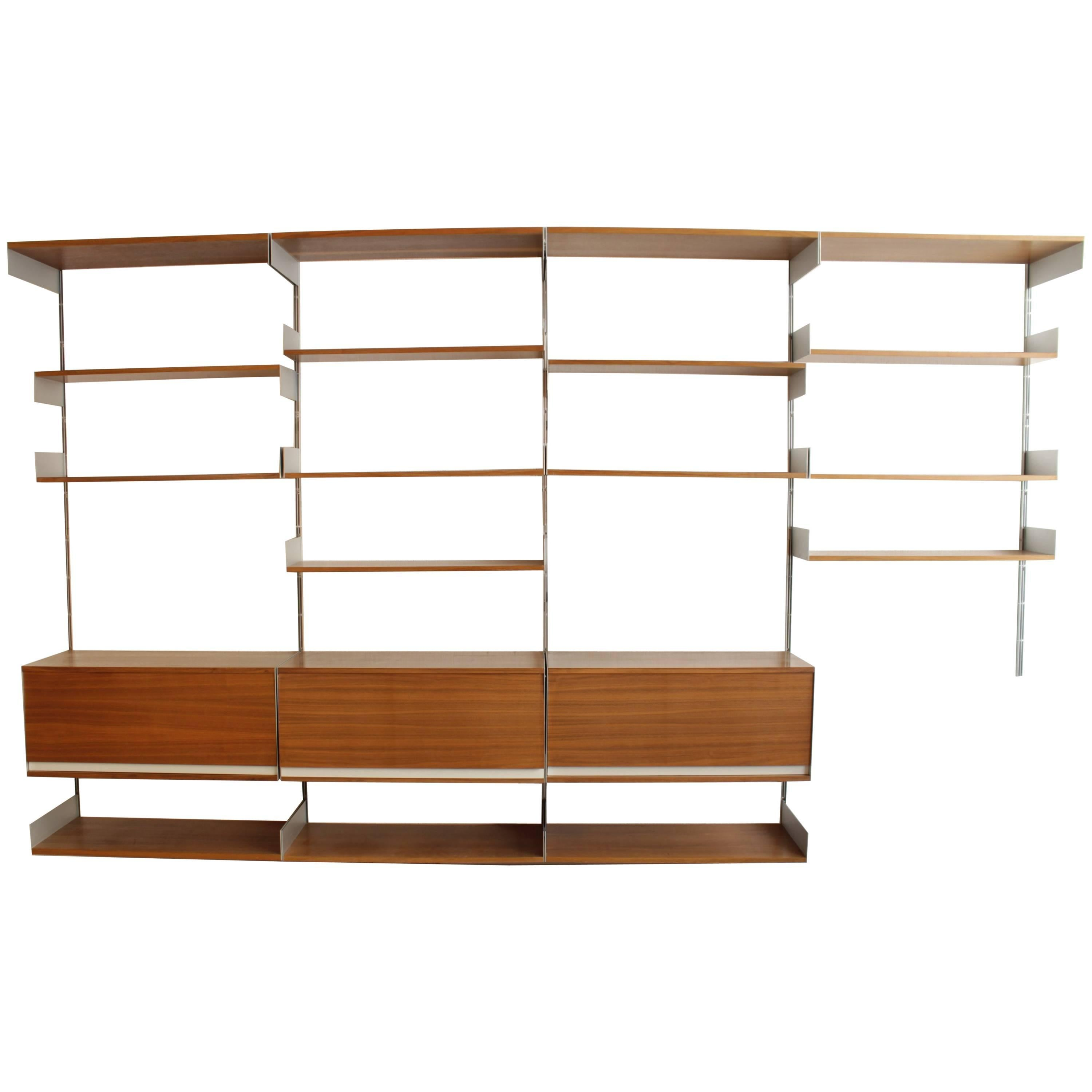 dieter rams walnut and aluminum universal shelving system for sale at 1stdibs