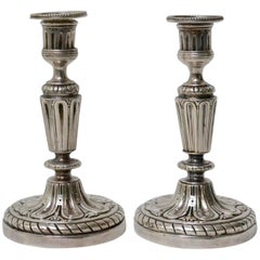 Pair of French 18th Century Argent Haché Candlesticks