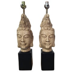 Pair of Asian Style Mid-Century Buddha Table Lamps Attributed to James Mont