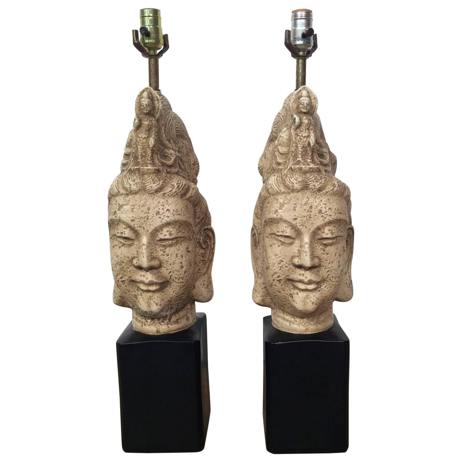 Pair Of Asian Style Mid Century Buddha Table Lamps Attributed To James Mont