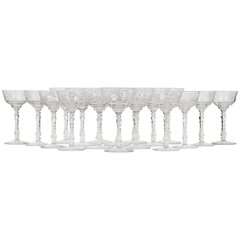 1960s, Floral Etched Rock Crystal Tall Stems, Set of 18