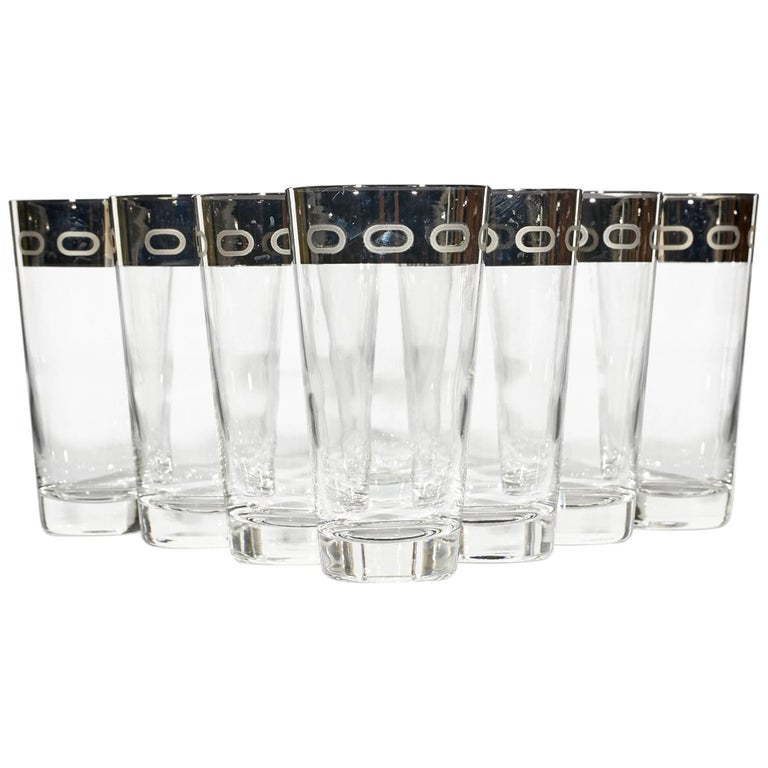 1960s Silver-Rim Tall Glass Tumblers, Set of Eight For Sale