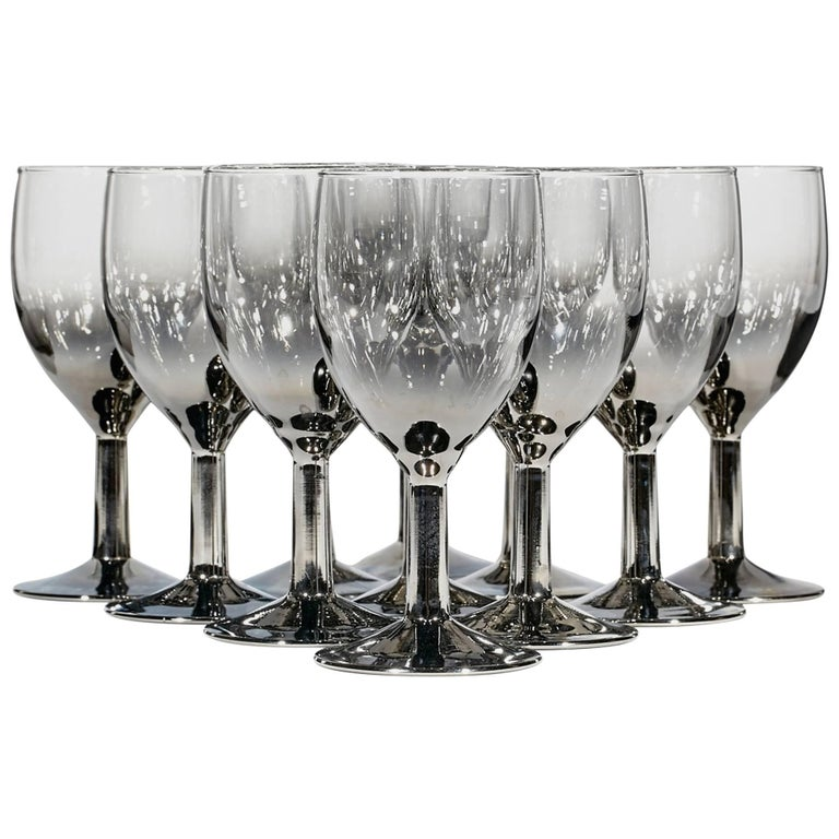 1960s Silver Glass Small Wine Stems, Set of 11 For Sale