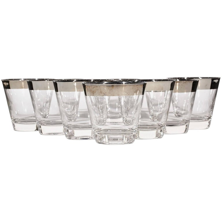 1960s, Silver-Rim Whiskey Glass Tumblers, Set of Eight