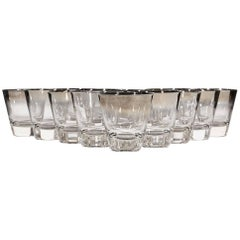 1960s Silver-Fade Liquor Glass Tumblers, Set of 16