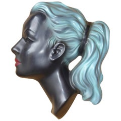 Cortendorf Mid-Century Modern Wall Mask Face of a Girl in Black with Blue Hair