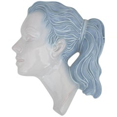 Mid-Century Modern Girl Figure White Wall Mask with Blue Hair, Wall Decoration