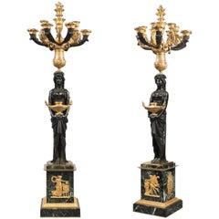 Pair of Impressive Empire Gilt-Bronze Candelabra Signed THOMIRE A PARIS