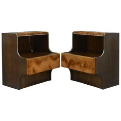 Pair of Mid-Century Nightstands Side Cabinets Bedside Tables with Lights Suede