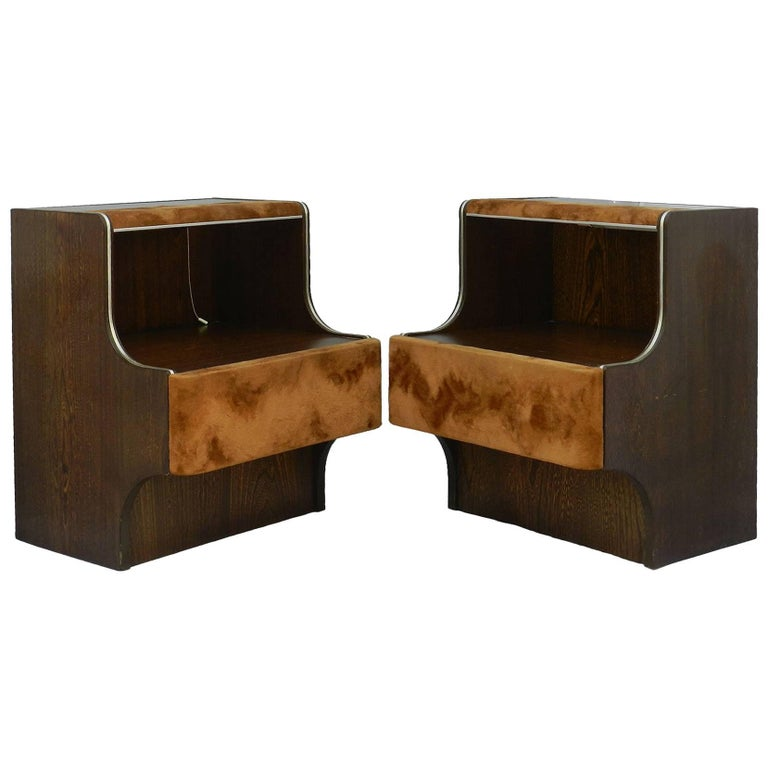 Pair Of Mid Century Nightstands Side Cabinets Bedside Tables With Lights Suede For At 1stdibs