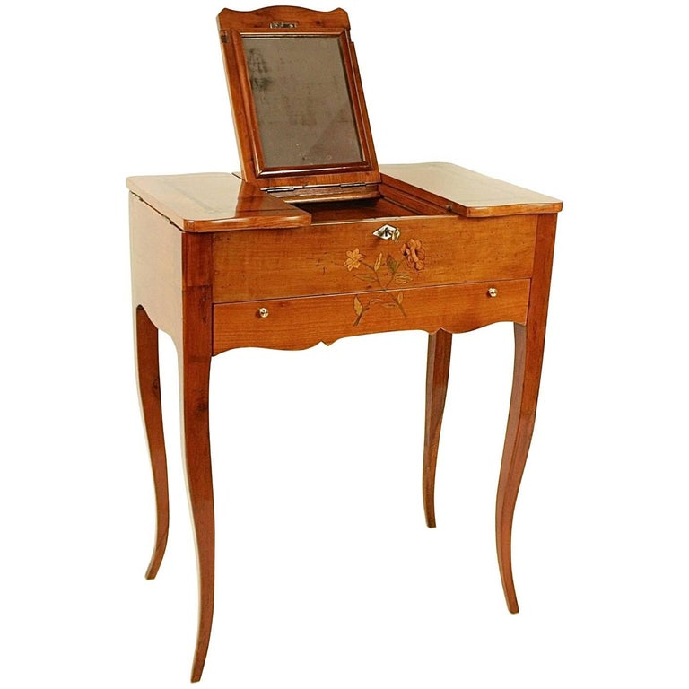 Small 18th Century Cherry Wood Dressing Table With Flower
