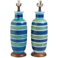 Pair of Blue Italian Ceramic Table Lamps
