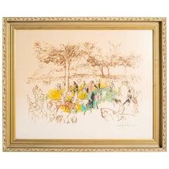 Large LeRoy Neiman Pencil Signed Horse Race Serigraph