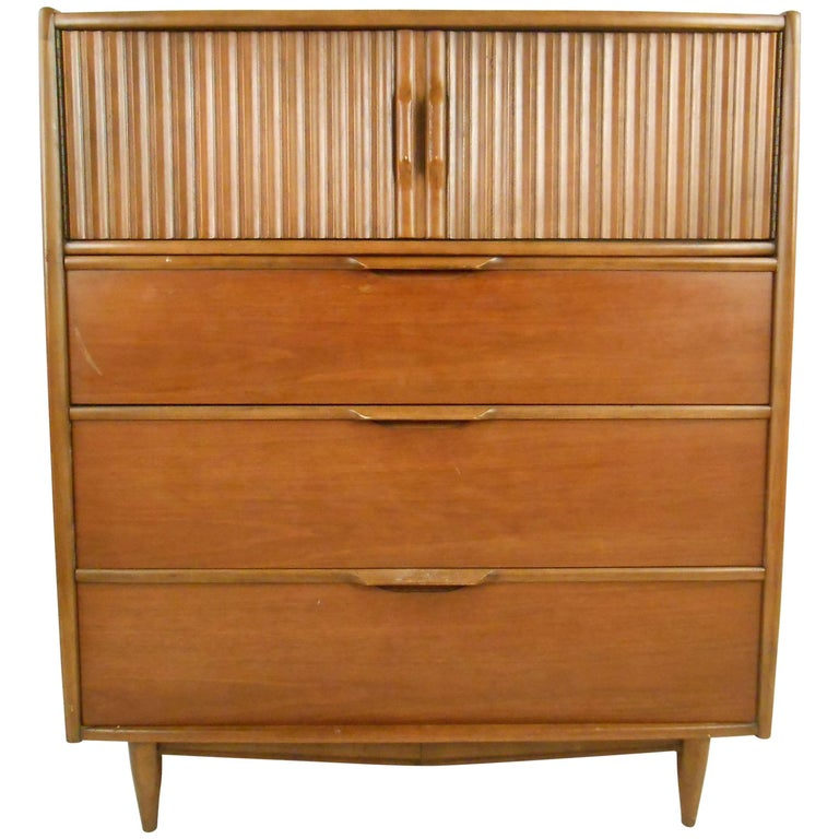 Mid Century Modern Kent Coffey The Cadence High Boy Dresser For