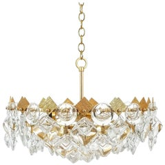 Petite Gilded Brass and Glass Chandelier Lamp by Palwa, 1970
