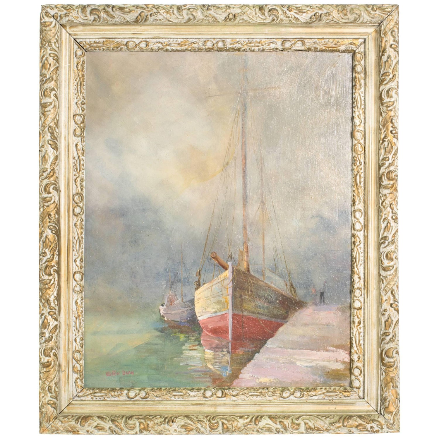 seascape sailboat painting by weston bean for sale at 1stdibs