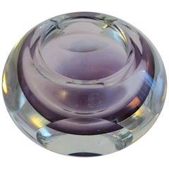 Italian Murano Clear and Purple Ombre Art Glass Bowl