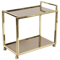 1980s Regency Style Golden Bar Cart Made of Gilt Metal