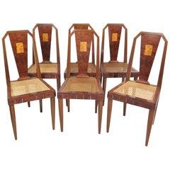 Six Ruhlmann Style Inlaid Burl Walnut Dining Chairs