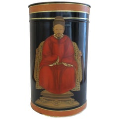 Vintage Black and Red Wastebasket or Trash Can
