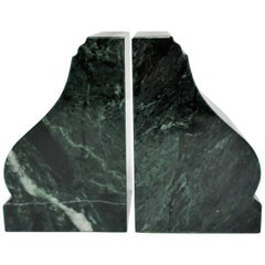 1970s Green and White Marble Bookends