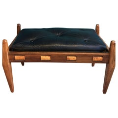 Black Vintage Leather Ottoman/ Foot Stool, Attributed to Sergio Rodrigues