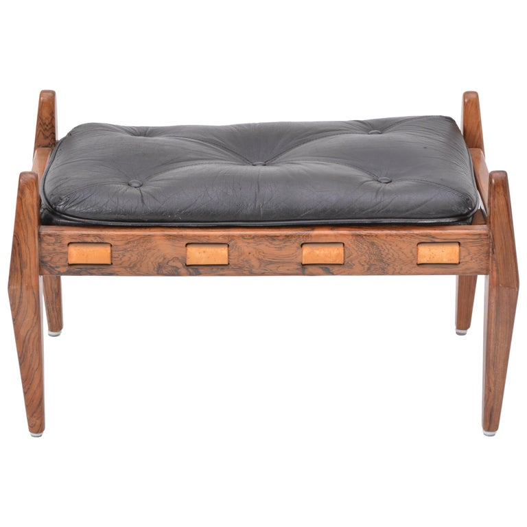 Black Vintage Leather Ottoman or Foot Stool, Attributed to Sergio Rodrigues For Sale