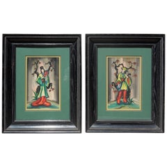 Pair of Original Vintage 1950s Chinoiserie Figure Paintings Signed Ling