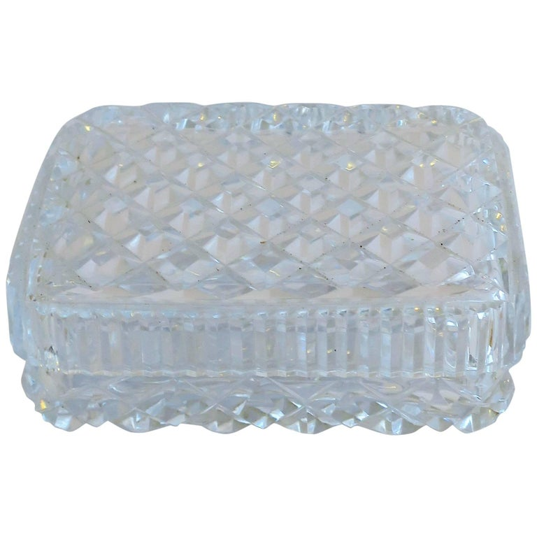 Vintage Diamond Quilted Crystal Jewelry Box For Sale